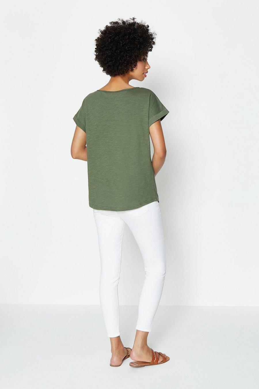 Coast T-Shirts | Womens Cotton Slub Plain T-Shirt Khaki