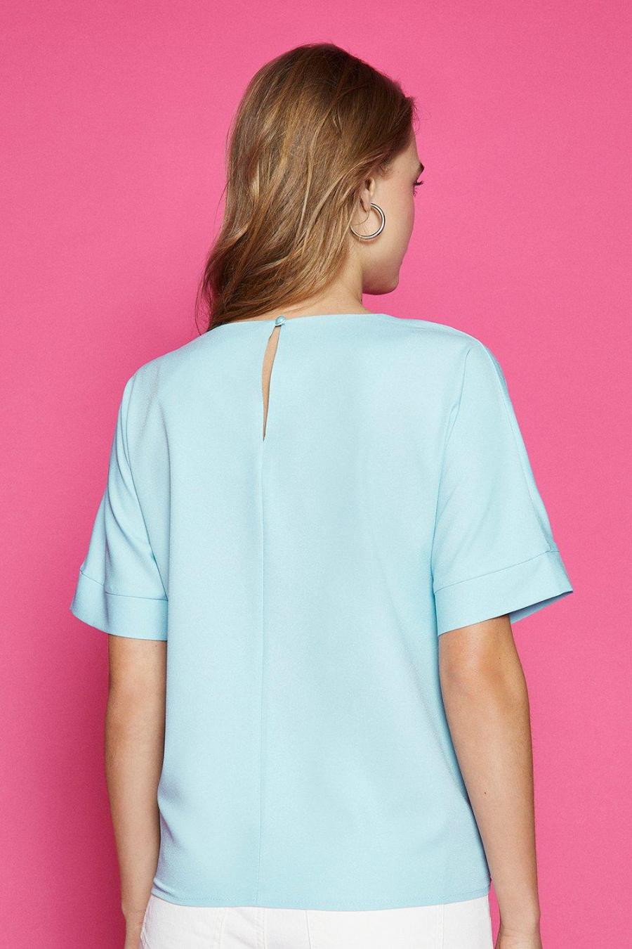 Coast T-Shirts | Womens Short Sleeve Tie Front Top Blue