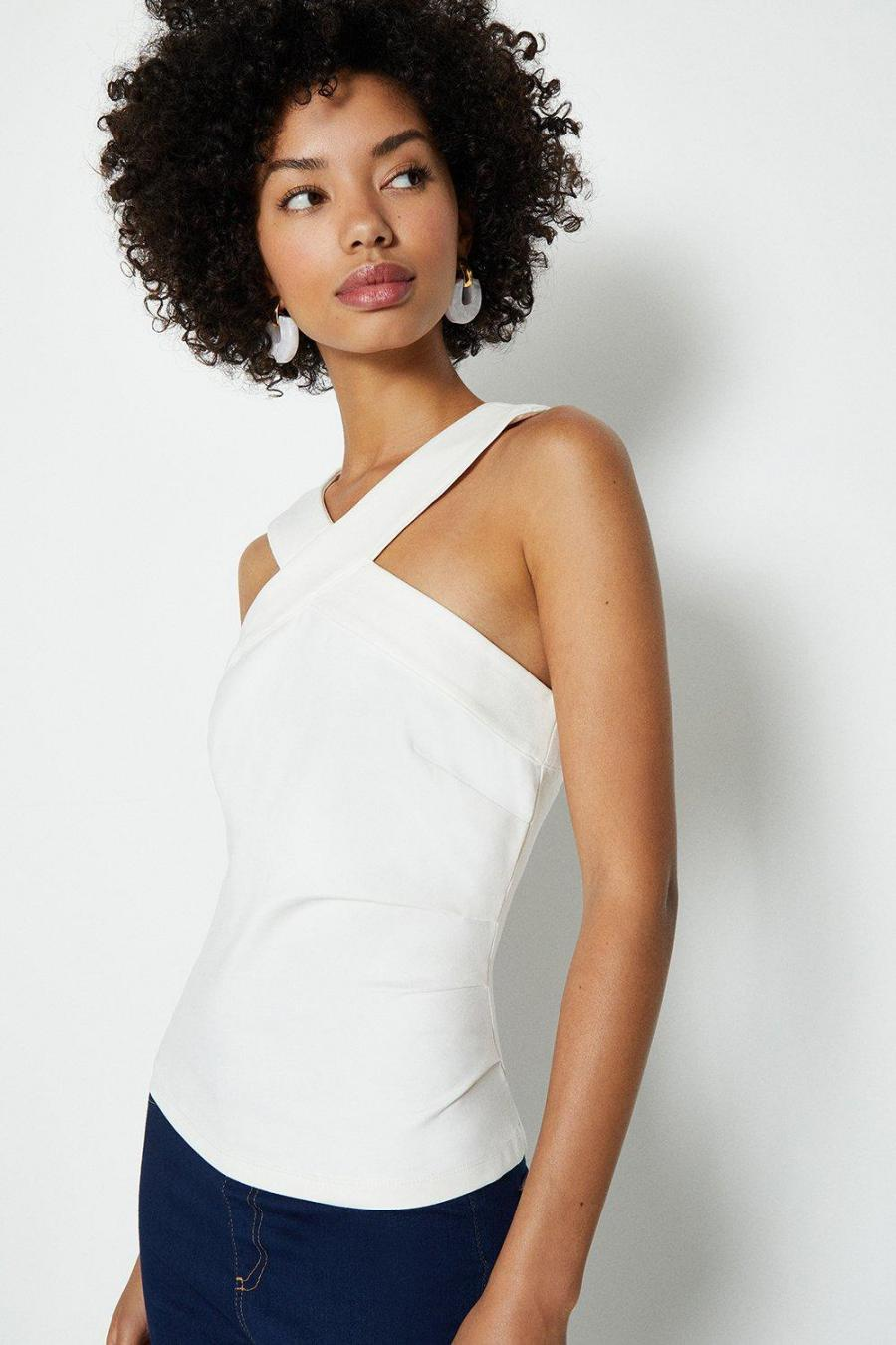 Coast Tops | Womens Cross Front Neck Ponte Top Ivory