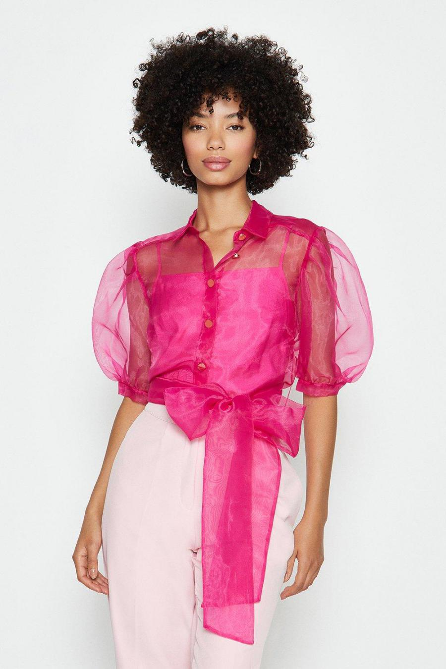 Coast Tops | Womens Plain Organza Puff Sleeve Top Pink