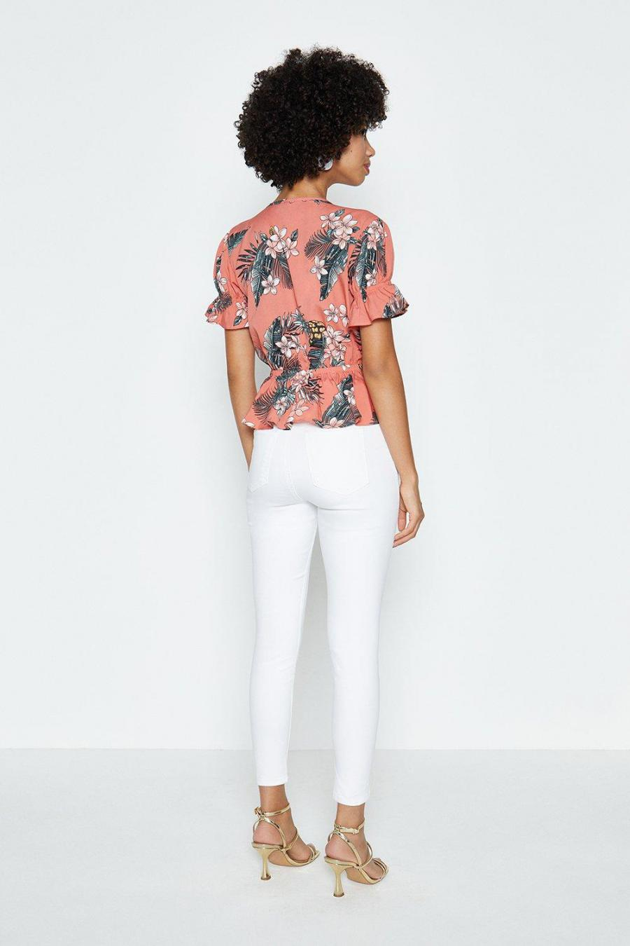 Coast Tops | Womens Printed Tie Front Flute Sleeve Top Coral