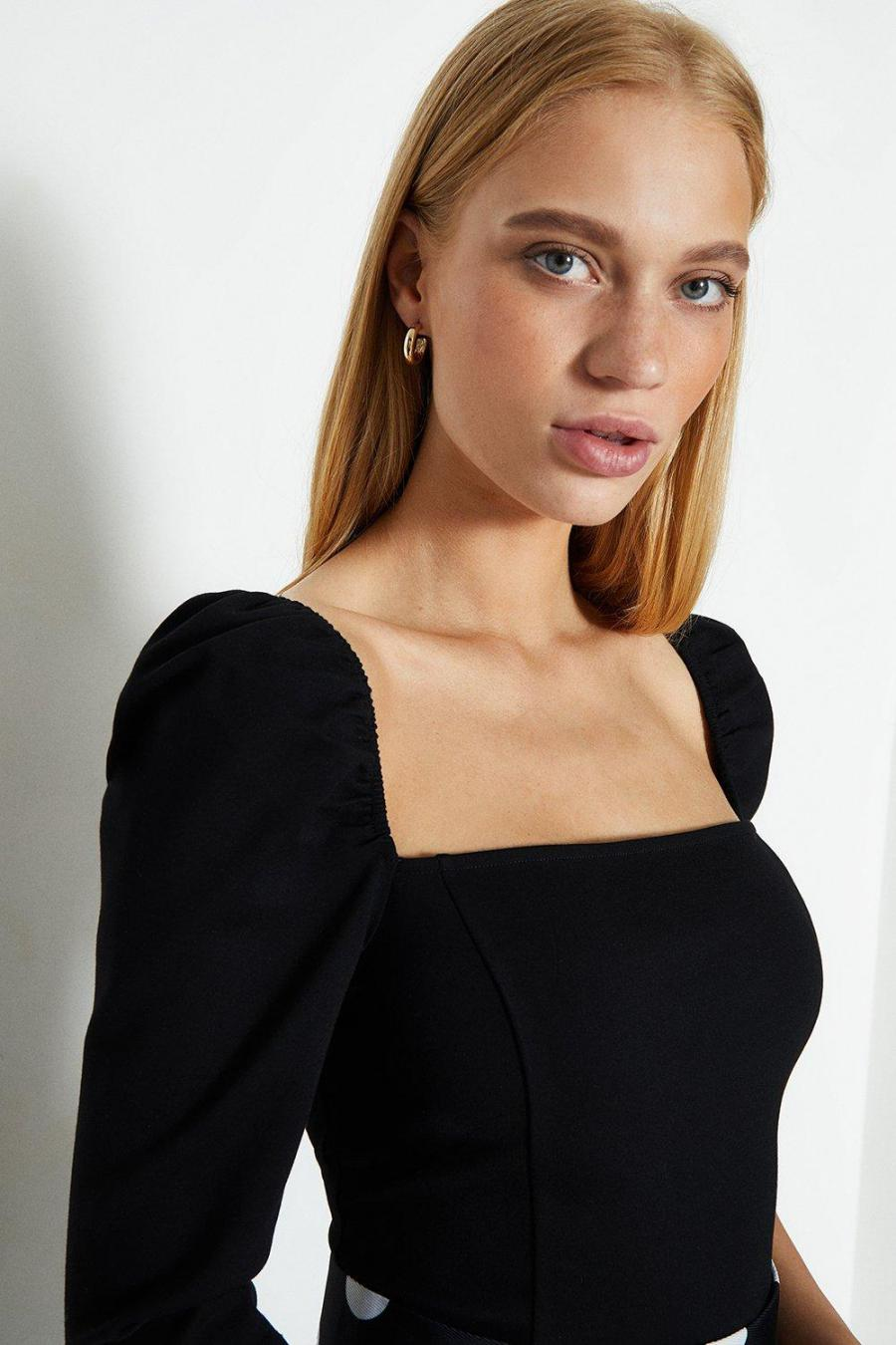 Coast Tops | Womens Square Neck Puff Sleeve Top Black