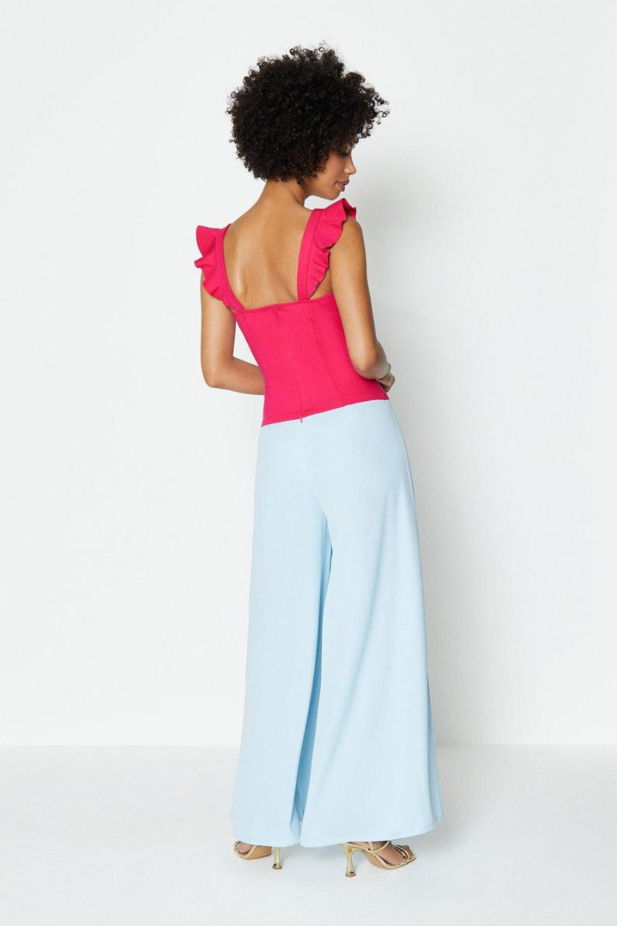 Coast Tops | Womens Square Neck Ruffle Sleeve Ponte Top Hot Pink