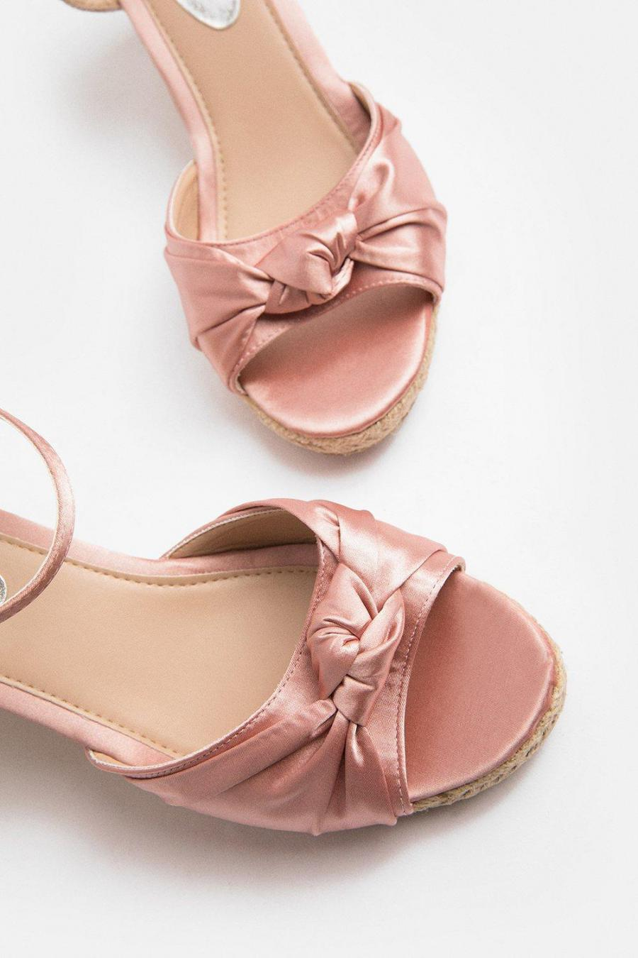 Coast Wedges | Womens Satin Knot Wedge Pink
