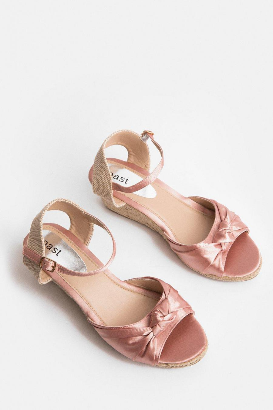 Coast Wedges   Womens Satin Knot Wedge Pink