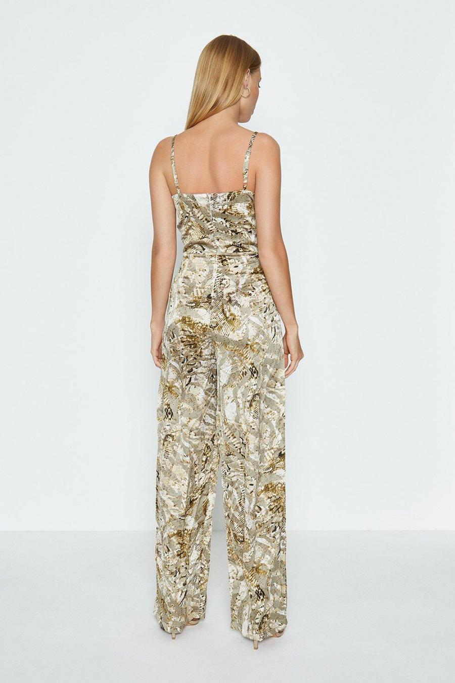Coast Wide Leg Jumpsuits | Womens Strappy Printed Satin Jumpsuit Ivory