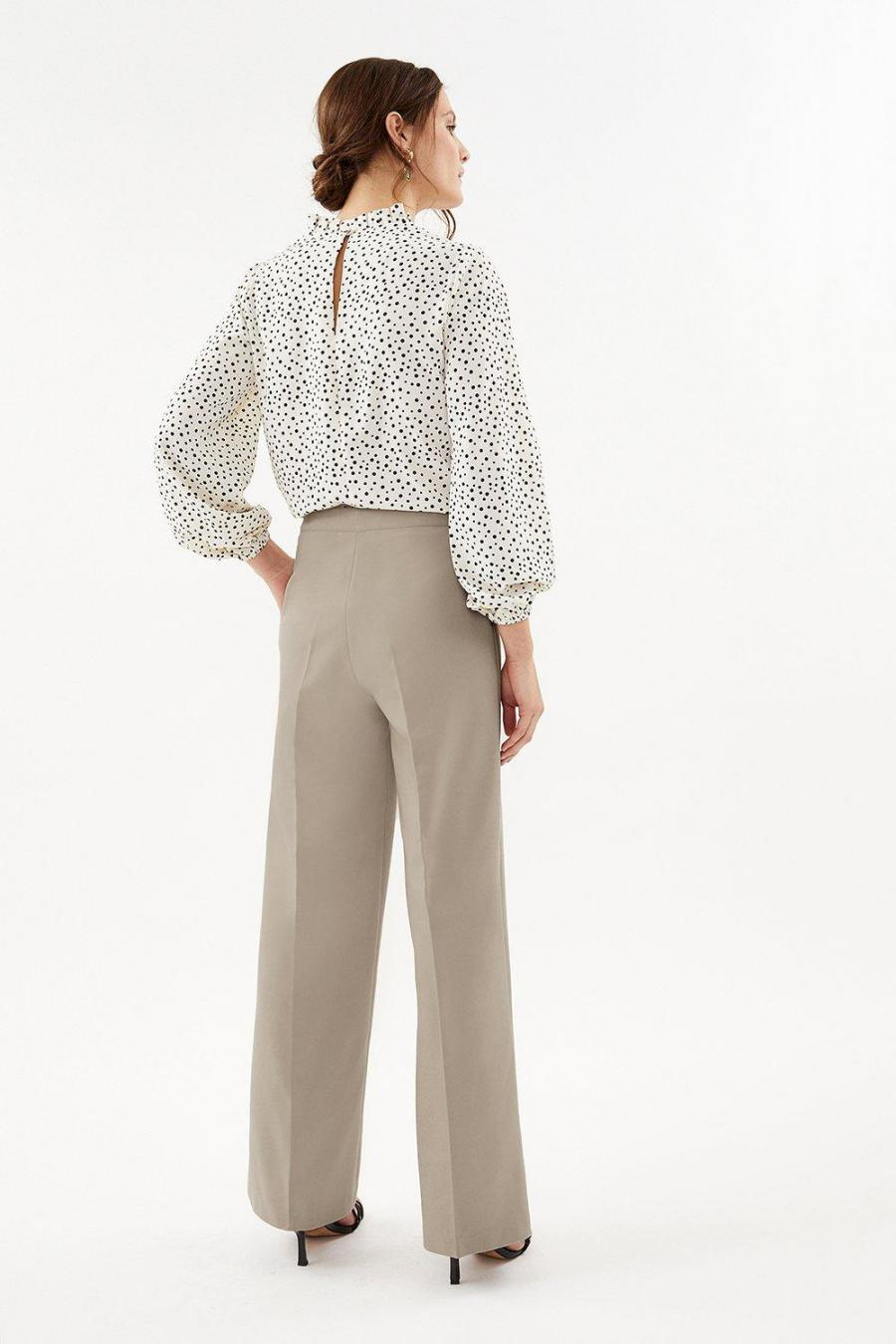 Coast Wide Leg | Womens Essential Cotton Sateen Wide Leg Trousers Stone