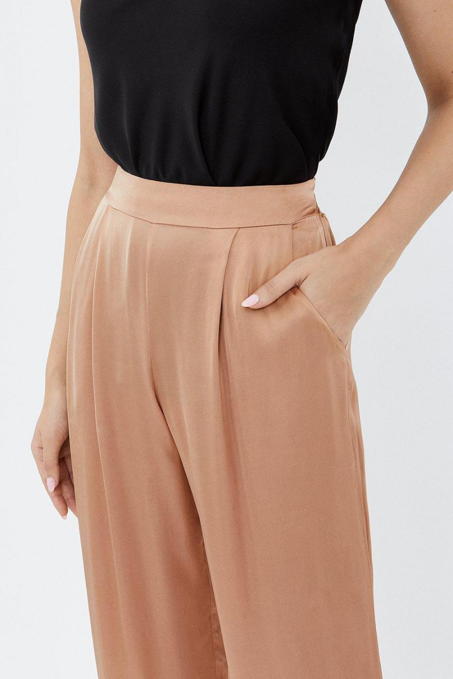 Coast Wide Leg | Womens Wide Leg Satin Relaxed Trousers Natural