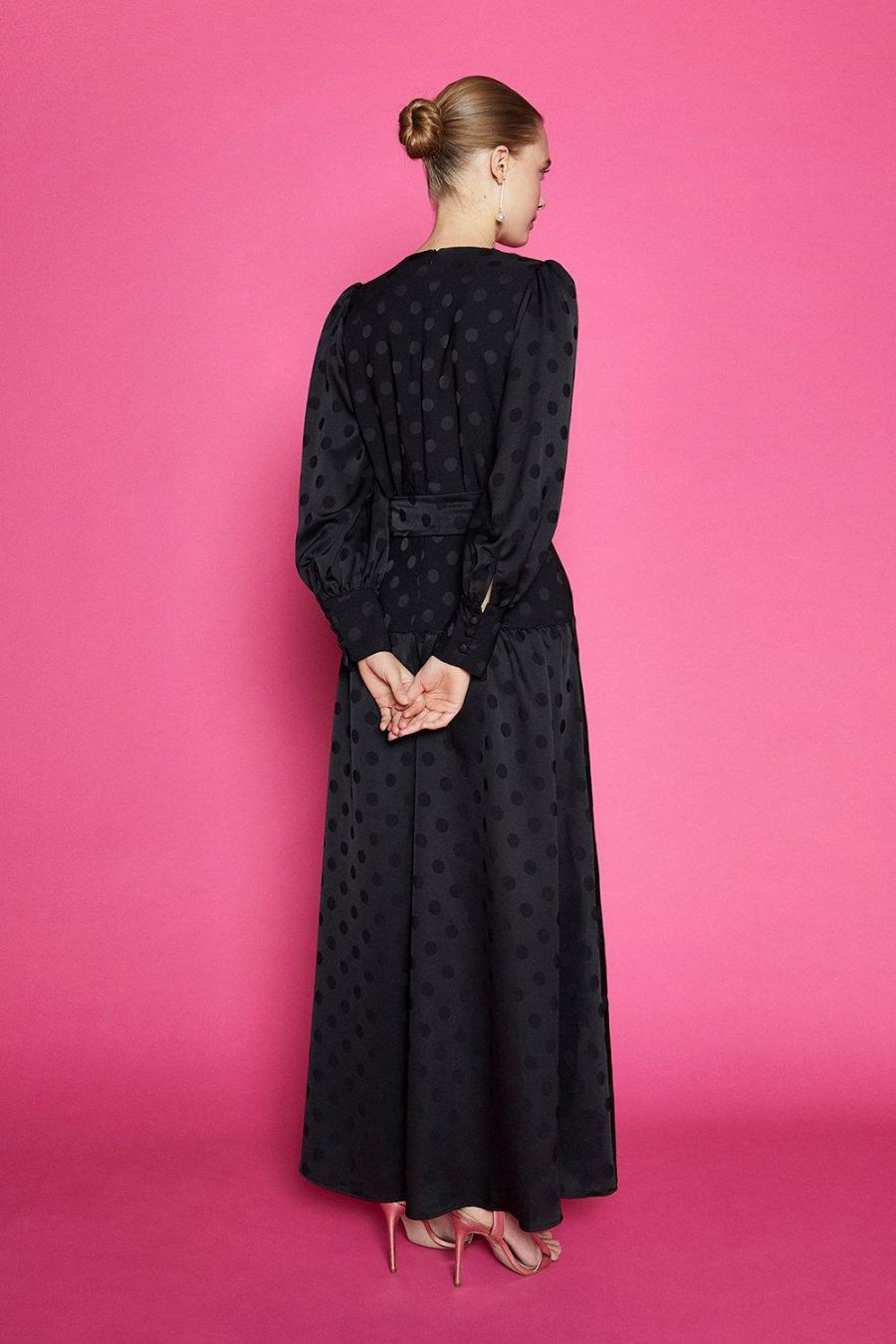 Coast Wrap Dresses | Womens Long Sleeved Spot Tiered Maxi Dress Black