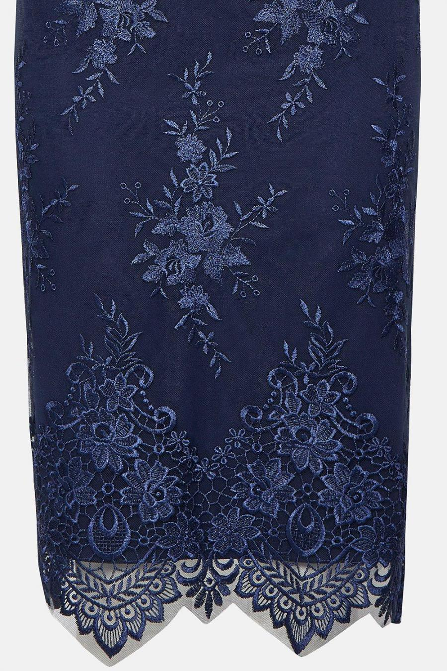 Coast Wrap Dresses | Womens Wrap Front Embroidered Midi Skirt Dress Navy