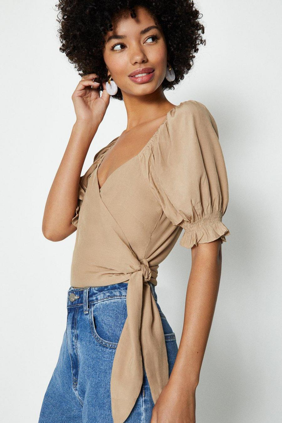Coast Wrap Tops | Womens Satin Puff Sleeve Wrap Top Taupe