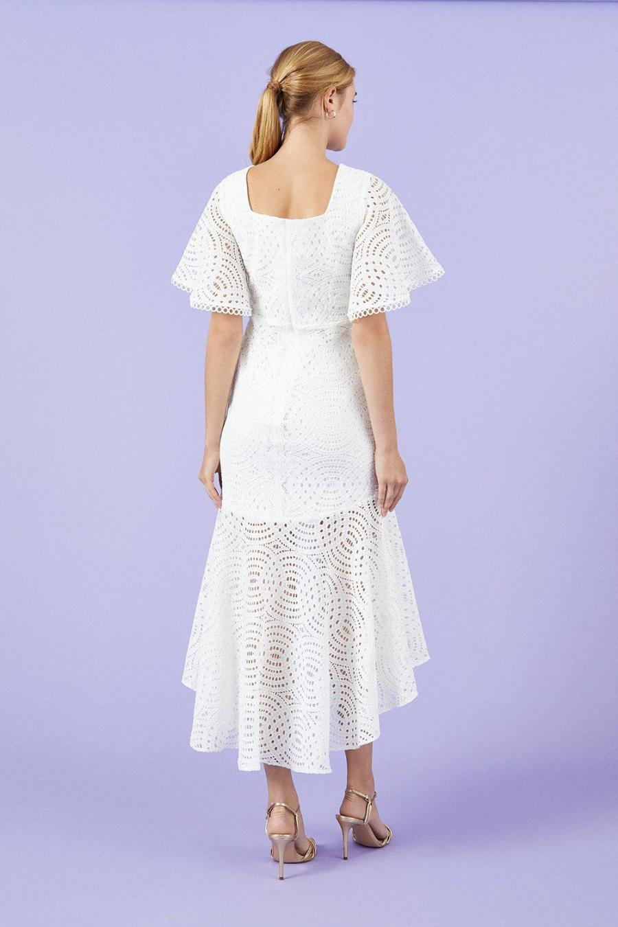 Coast Midi Dresses | Womens Lace Peplum Hem Dress Ivory