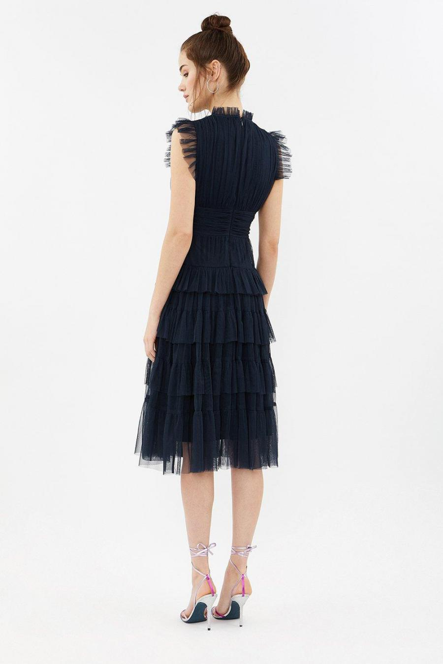 Coast Midi Dresses | Womens Tulle Tiered Frill Sleeve Dress Navy