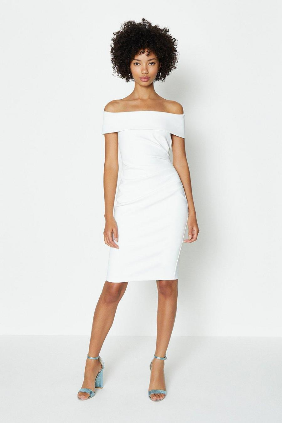 Coast Pencil Dresses | Womens Bardot Side Ruched Dress Ivory