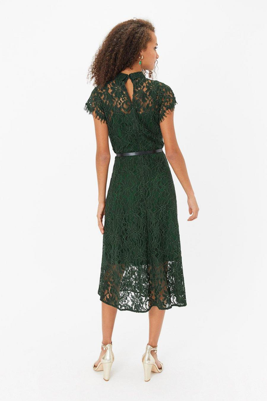 Coast Shirt Dresses | Womens Belted Lace Shirt Dress Forest