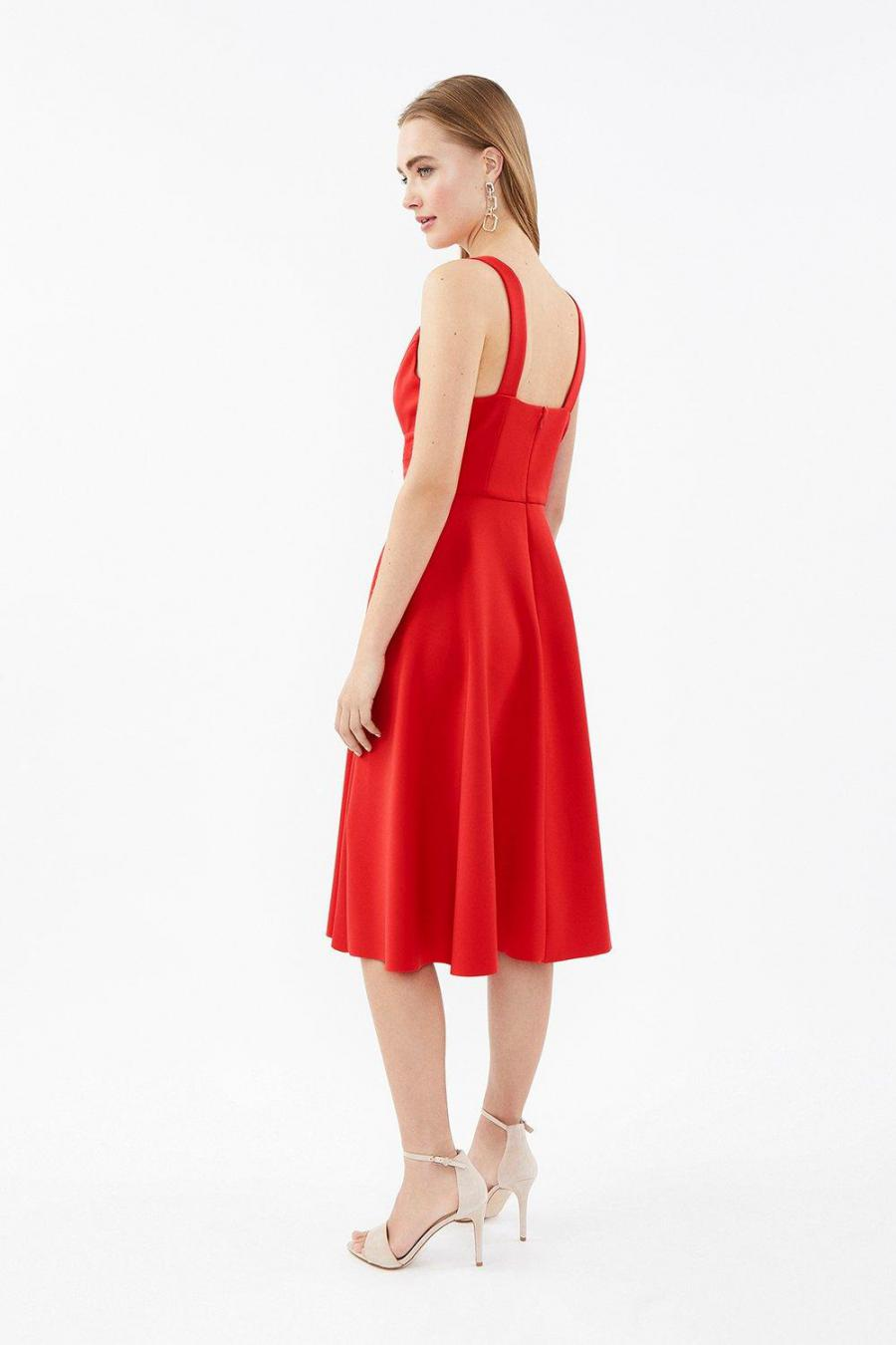 Coast Skater Dresses | Womens Ruched Front Full Scuba Midi Dress Red