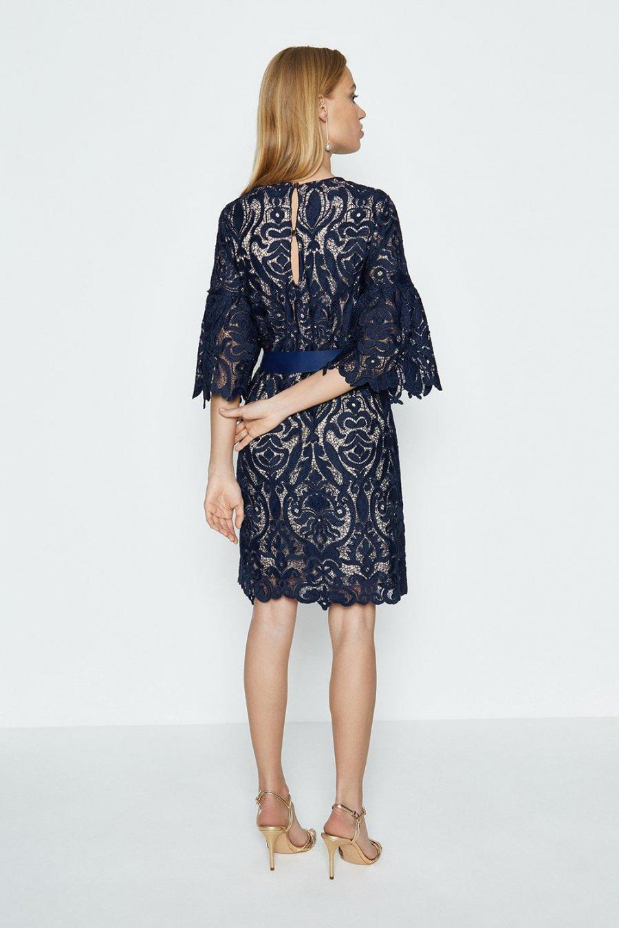 Coast A Line Dresses | Womens Lace Puff Sleeve Knee Length Dress Navy