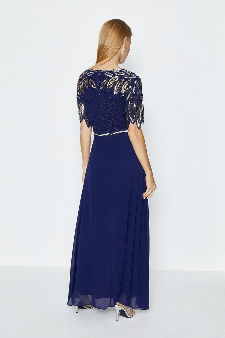 Coast Maxi Dresses | Womens Embellished Shoulder Maxi Dress Navy