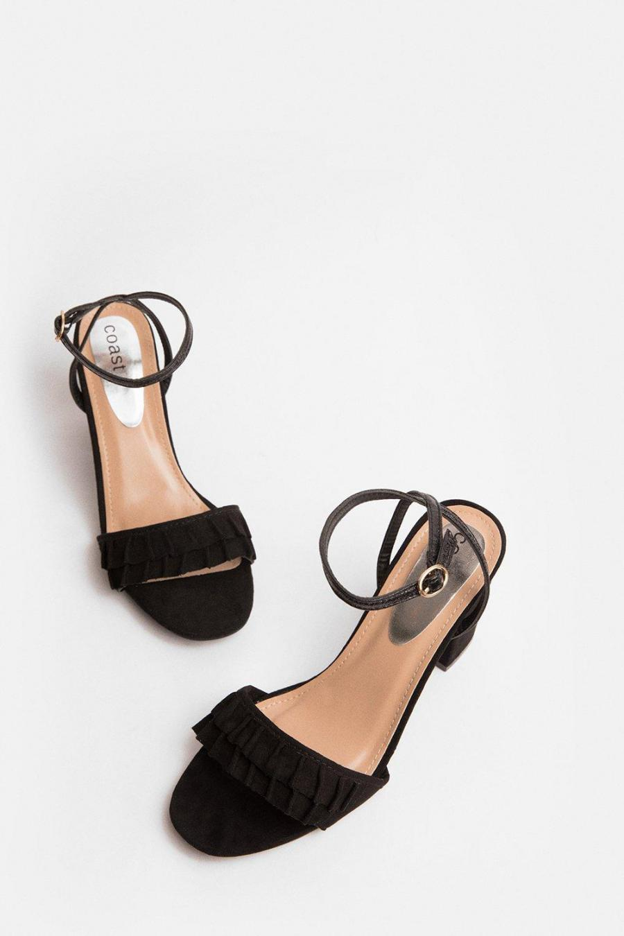 Coast Heeled Sandals | Womens Frill Toe Strap Blocked Heel Sandal Black