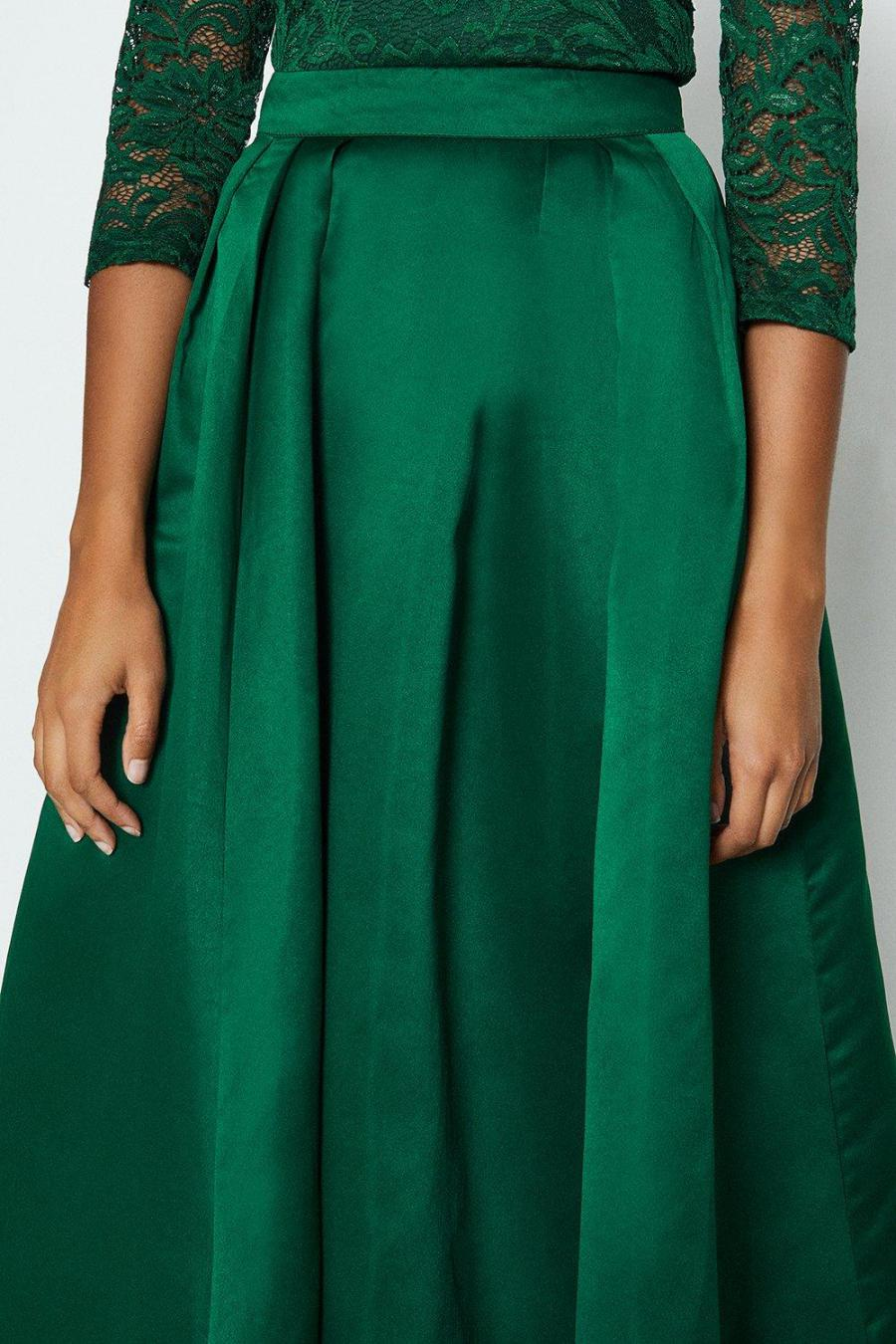 Coast Maxi Skirts | Womens Structured Satin Maxi Skirt Forest