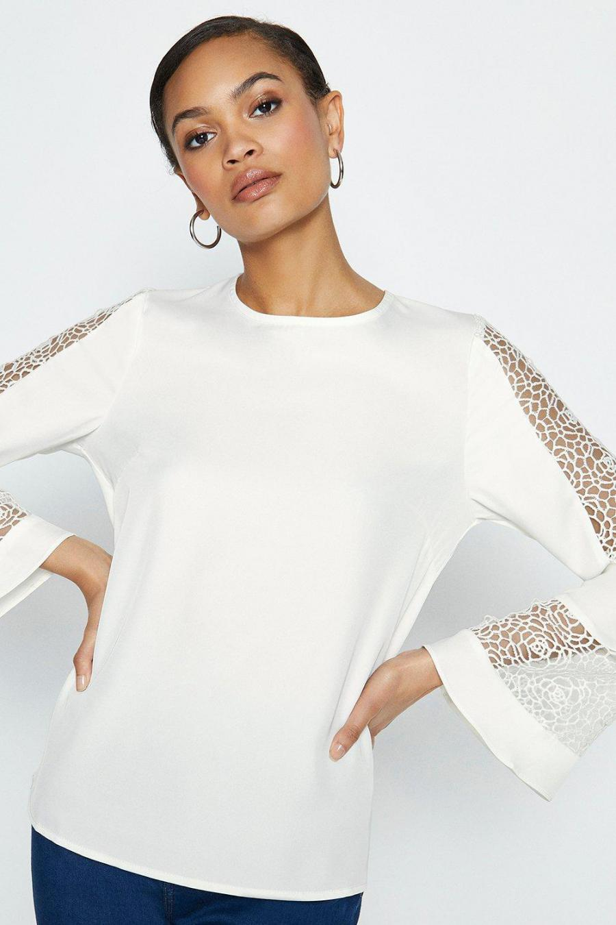Coast Shell Tops | Womens Long Sleeve Lace Insert Top Cream