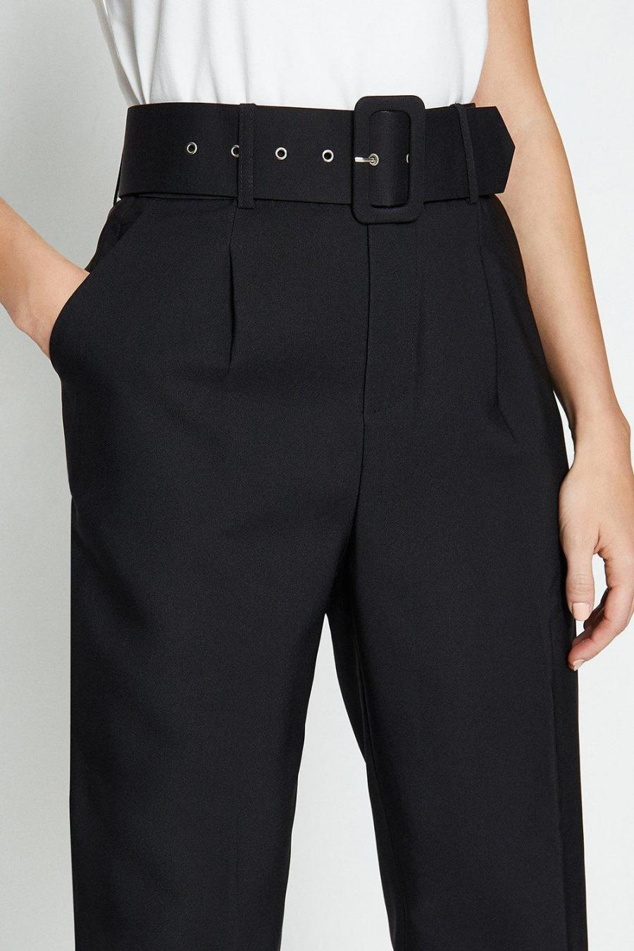 Coast Straight Trousers | Womens Belted Trousers Black