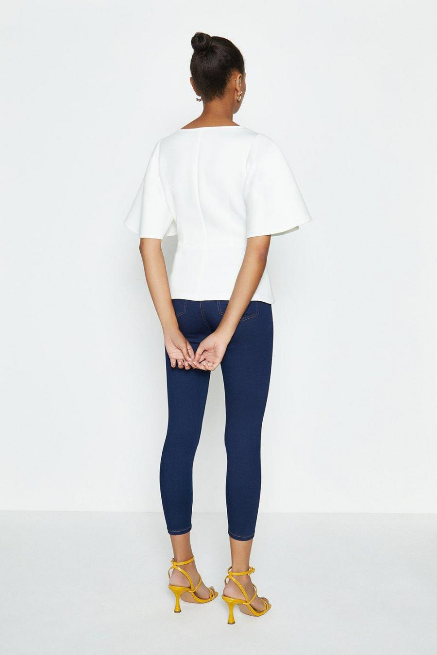 Coast Structured Tops | Womens V-Neck Flare Sleeve Scuba Top Ivory